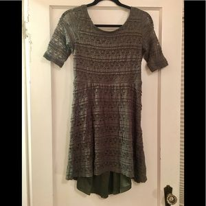 Olive Green Lace High Low Scoop Neck Dress